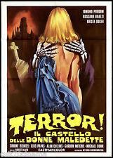 TERROR! IL CASTELLO DELLE DONNE MALEDETTE MANIFESTO BRAZZI HORROR 1973 POSTER 2F