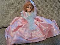 Vintage sleepy eye doll painted lashes no arms pink satin w/feathers  dress 7""
