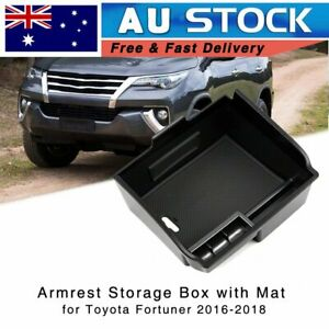 Center Console Armrest Storage box Tray for Toyota Fortuner 2016-2021 w/ Mat