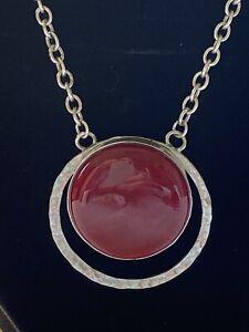 "Vintage Sterling Silver & Carnelian Modernist Necklace 16"", used."