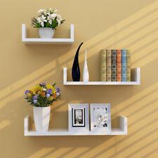 Set of 3 U Shape shelves Floating Wall Shelves Home DIY Decor Storage Wood Shelf