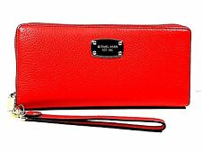 Michael Lots Jet Set Travel Continental Leather Wallet Wristlet Sienna Red/Gold