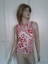 MARKS & SPENCER RED & WHITE COLLARED TOP SIZE 10