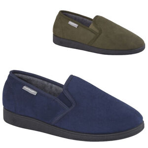 MENS GENTS SIZE 7 8 9 10 11 12 BLUE GREY VELOUR SLIP TOP QUALITY DUNLOP SLIPPERS