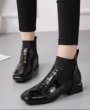 Womens Patent Leather Square Toe Chelsea Ankle Riding Boots Low Heels Shoes A805