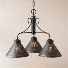 Country new black tin BARRINGTON  punched tin shaded chandelier / FREE SHIP