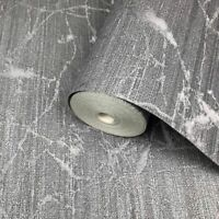 Wallpaper charcoal Gray metallic Textured Plain faux industrial metal lines 3D