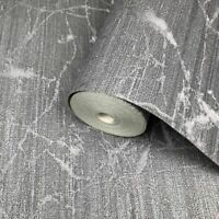 Wallpaper charcoal Gray metallic Textured Plain faux industrial metal lines 3D