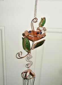 WIND CHIMES HUMMINGBIRD COPPER AND STAINED GLASS - BEAUTIFUL!