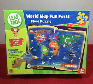 Leap Frog World Map Floor Jigsaw Puzzle w Magnifying Glass. 48 Pcs, Complete