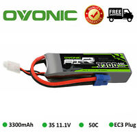 OVONIC 3300mAh 3S 11.1V 50C Lipo Battery EC3 Plug For FPV RC Airplane Helicopter