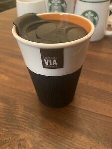 Starbucks Coffee 2011 Via Ready Brew Silicone Ribbed Grip Tumbler Travel Mug Cup