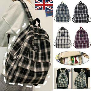 Men Women Student Backpack Bag Check School Canvas Backpack Bags Travel Rucksack