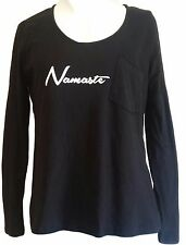 NEW Brooke Taylors Yoga Namaste Graphic T-Shirt Womens Size L - Black W351