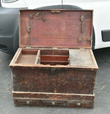 Antique Wood Carpenter Chest 1800s Pennsylvania Red Paint 2 Piece