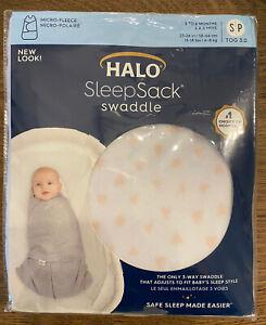 NEW Halo Sleepsack Fleece Swaddle Wrap Heart Print.   Size Small. 3-6 Months.