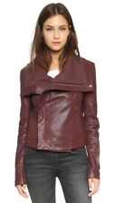 Veda Max Classic Women's Leather Biker Burgundy Jacket Size Medium