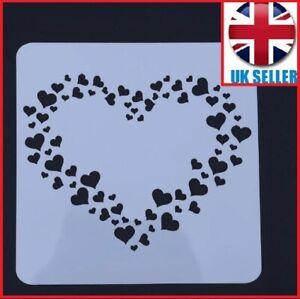 STENCIL HEART LOVE Mini heart Drawing Paint Plastic Reusable 13 cm x 13 cm