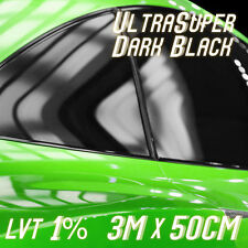300CM X 50CM LIMO BLACK CAR WINDOWS TINTING FILM TINT FOIL + FITTING KIT 1% NEW