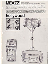 VINTAGE AD SHEET #3351 - 1960s MEAZZI HOLLYWOOD DRUMS