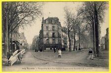 cpa 35 - RENNES Rue POULLAIN DUPARC et Bd LIBERTE Transport CHARPENTIERS CAFÉ