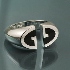 GUCCI STERLING SILVER & ONYX UNISEX DOUBLE G RING size 5 made in Italy