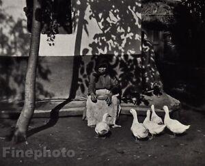 1924/72 Vintage WOMAN FEEDING GEESE Ducks Budapest Hungary Photo - ANDRE KERTESZ