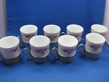 8 Antique  German  Engraved  Pewter Cups  w/Inside Porcelain Cups Rose Pattern