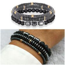 SET Bracciale uomo 3 bracciali in catena con sfere nero braccialetti da elastico