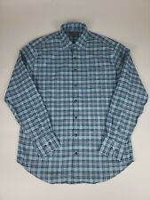 Peter Millar Crown Sport Mens Large Blue Flannel Shirt Excellent Condition