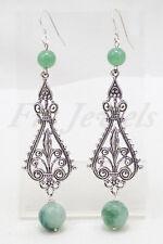 Orecchini giada naturale filigrane argento 925 Gioielli Artigianali Preziosi
