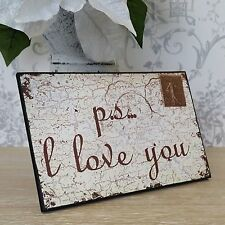 Wall Hanging plaque PS I Love You Stamp Shabby Chic Français Vintage Style Cadeau