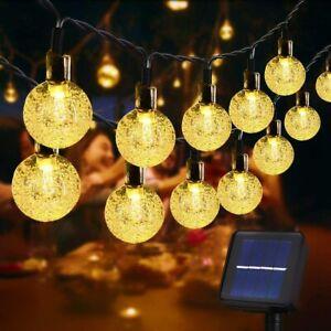 Lichterkette Solar Außen 30 LED Lichter Lampion Batterie Beleuchtung Garten IP65