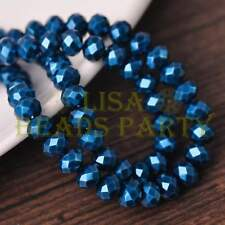 50pcs 6X4mm Rondelle Pearl Like  Faceted Glass Loose Spacer Beads Purplish Blue