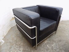 square,black leather,chrome,Deco,arm chair,chair,20th C,vintage,corbusier,style