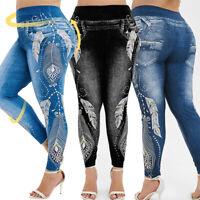 Summer Women Plus Size High Waist 3D Jeans Print Leggings Casual Jeans BY