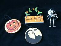 Lot of 4 Halloween Ornaments Skeletons Pumpkins Gone Batty
