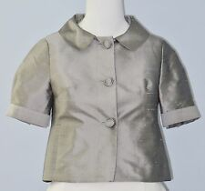 ANN TAYLOR LOFT Petites Size 00P Gray 100% Silk Button Down Short Sleeves Blouse