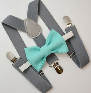 Kids Boys Mens Gray Suspenders & SPA Robin Blue Bow tie Infant - ADULT SET