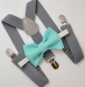 Kids Boys Mens Gray Suspenders & SPA Robin Blue Bow tie Infant - ADULT SET