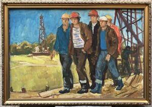 Vintage Original gouache painting,Workers,Industrial, Oil,Petroleum, Soviet Art