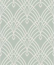 Rasch Astoria Wallpaper 305333. Textured Vinyl Art Deco Duck Egg Silver Glitter