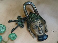More details for  vintage style brass buddha head padlock with 2 keys 15cm long