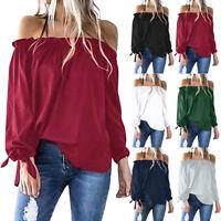 Women Boat Neck Long Sleeve Cold Shoulder Long Sleeve T-Shirt Tunic Tops Blouse