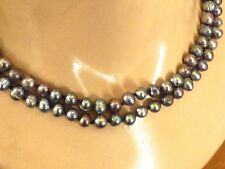 """60"""" long AMAZING COLOR, FRESH WATER PEACOCK PURPLE NEW PEARL NECKLACE KNOTTED"""