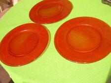3 große Glasteller, Pastateller oder Pizzateller orange, 32,5 cm Durchmesser