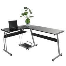 L-shape Computer Corner Desk Laptop PC Table Home Office Flat Shape Table Leg US
