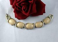 Vintage Gold tone Earth Tone Tan Cabachon   Bracelet  CAT RESCUE