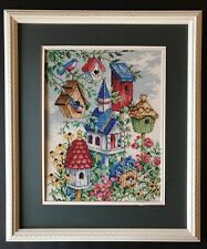 Completed Cross Stitch Bluebird Birdhouses Framed Matted 15 x 18