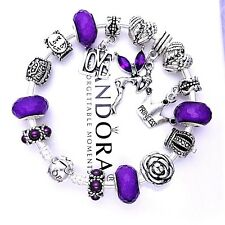 Authentic Pandora Bracelet Silver with ANGEL PRINCESS LOVE PURPLE European Charm